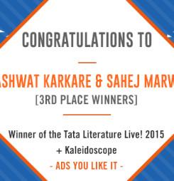 TATA LitLive2015 + Kaleidoscope : Ads You Like It 3rd Place Winner